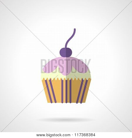Color berry muffin flat vector icon