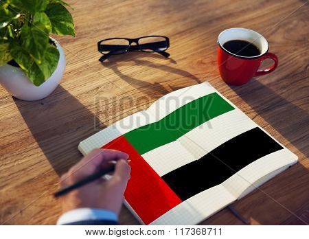 UAE National Flag Studying Reading Book Concept