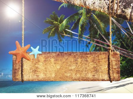 Sign Beach Blank Copy Space Sea Travel Concept