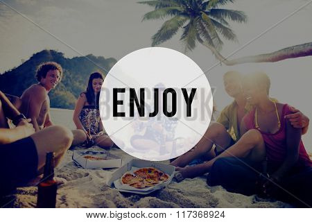 Enjoy Summer Friendship Beach Vacation Concept