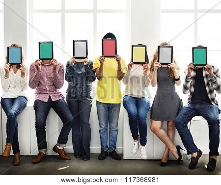 People Holding Tablet Social Media Concept