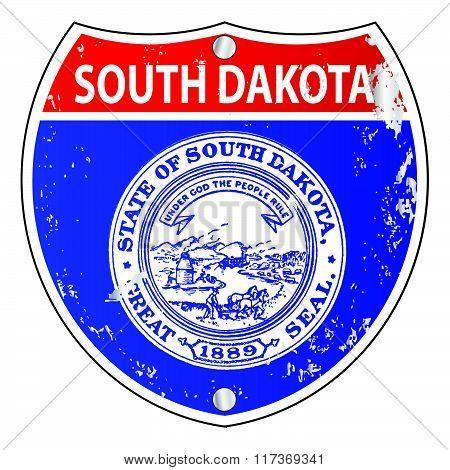South Dakota Flag Icons As Interstate Sign