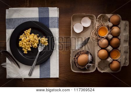 Eating Scrambled Eggs Flat Lay Still Life