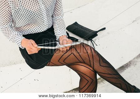 Trendy Professional Business Woman Reading On Digital Tablet