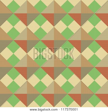 Seamless geometric pattern. Rhomb texture. Diagonal square and triangular background. Autumn, warm,