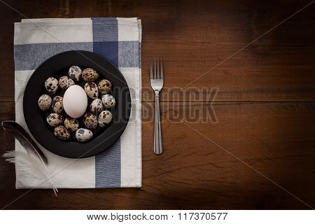 Poultry Eggs Flat Lay Still Life Rustic With Food Stylish