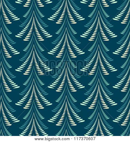 Seamless Christmas pattern. Stylized ornament of trees, firs on dark blue background. Twist silhouet