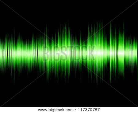 Green abstract digital sound wave.