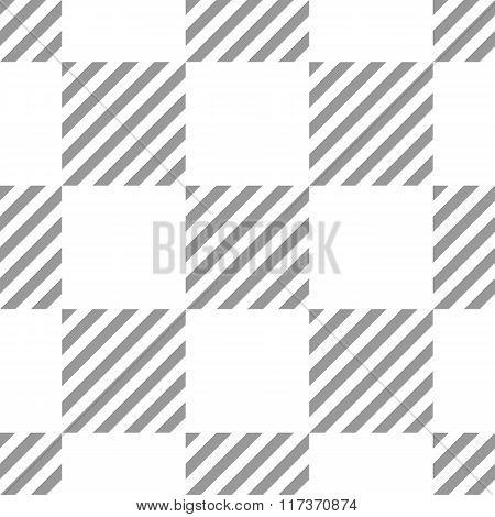 Seamless geometric checkered pattern. Stripy square texture. Diagonal gray, white strips in rectangl