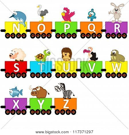 alphabet train animals from N to Z