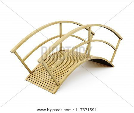 Park wooden bridge isolated on a white background. 3d rendering