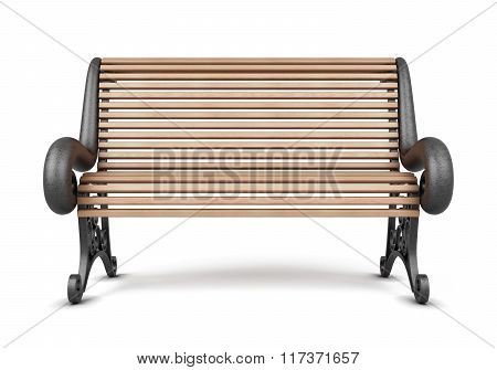 Park bench isolated on white background. 3d render image