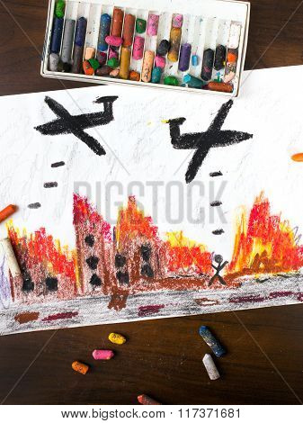 photo of colorful drawing - bombing raid