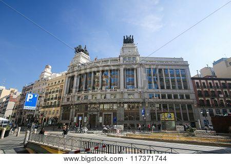 Bbva Building On Alcala Street In Madrid, Spain