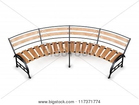 Street bench isolated on white background. 3d illustration