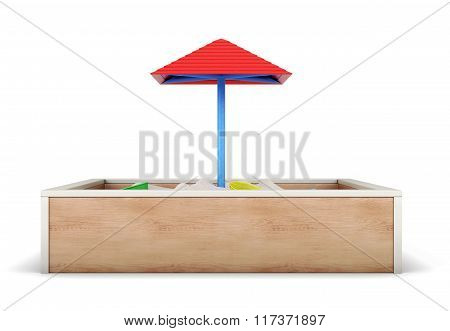 Sandbox isolated on white background. 3d render image