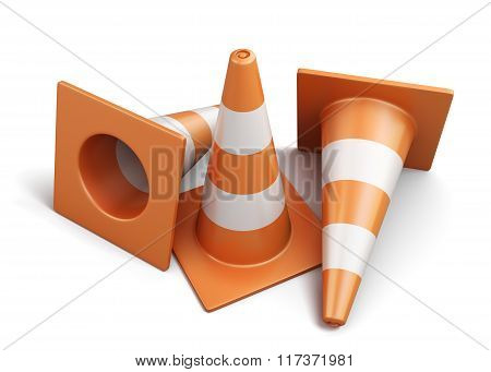 Few traffic cones isolated on a white background. 3d render imag