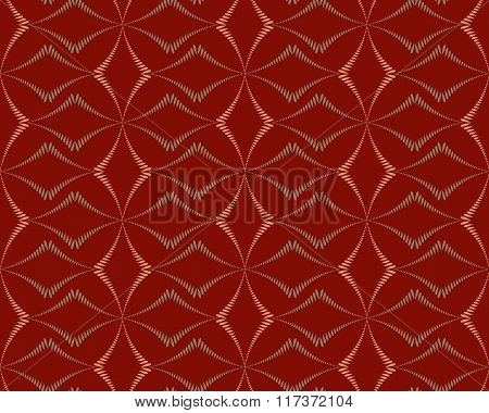 Seamless geometric abstract pattern. Rhombus bands, lines on light brown background. Red dark colore