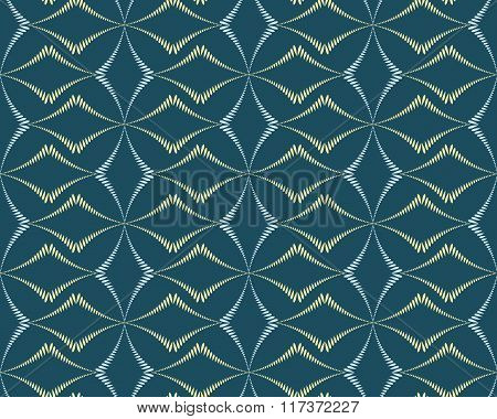 Seamless geometric abstract pattern. Rhombus bands, lines on light brown background. Blue dark color