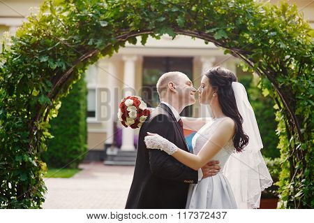 Groom Kissing His Bride On Wedding Day Near Arch