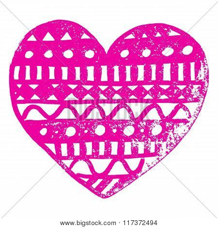 Zentangle Doodle Pink Heart Ink Hand Drawn Vector Isolated