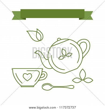 Icons And Symbols With The Theme Of Tea