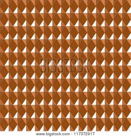 Seamless geometric pattern. Carbon texture. Rhombus convex shine light figures on orange, brown back