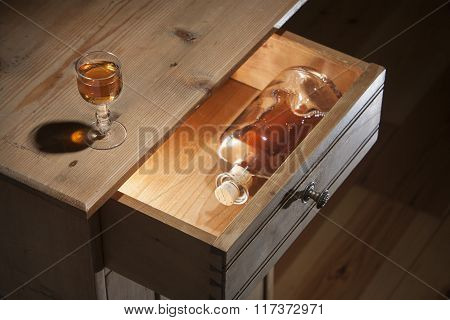 Glass Of Brandy On The Table