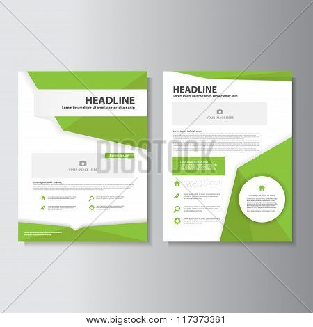 Green Vector annual report Leaflet Brochure Flyer template design, book cover layout design, Abstract green presentation templates
