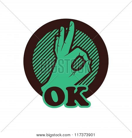Ok Hand Vector Illustration,