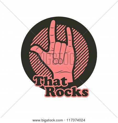 Hand In That Rocks Sign. Vector Illustration.