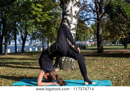 Pretty slim girl does yoga in the park. It should be in the bridge by lifting the leg.