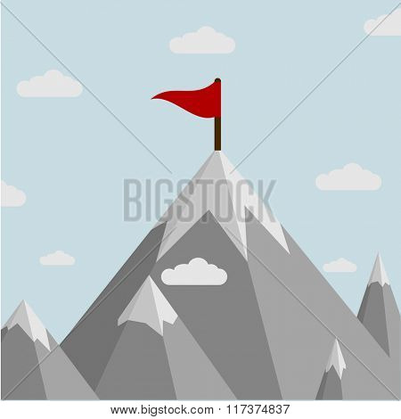 minimalistic illustration of a flag on top of a mountain, eps10 vector
