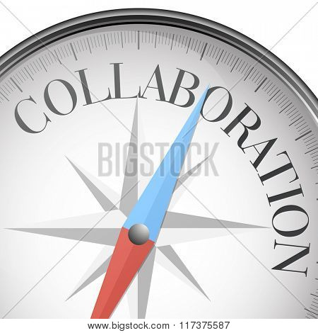 detailed illustration of a compass with Collaboration text, eps10 vector