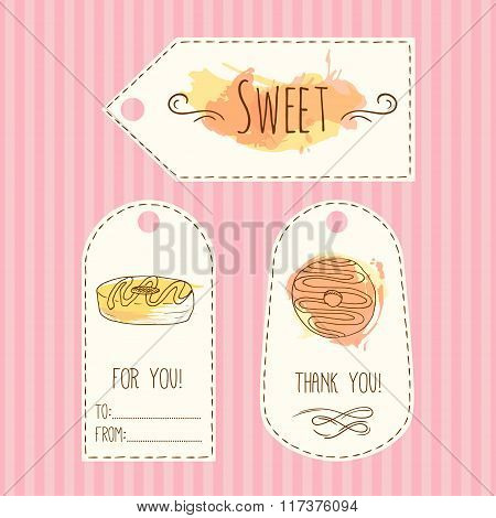 Tags with donut illustration. Vector hand drawn labels set with watercolor splashes. Sweet vector pa