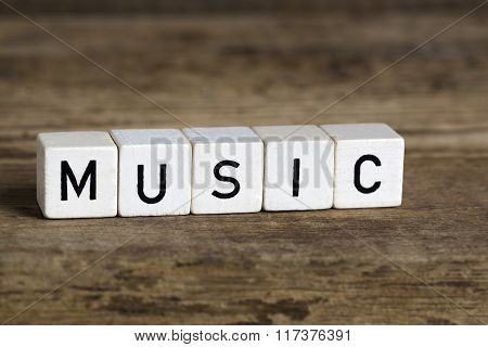 The Word Music Written In Cubes