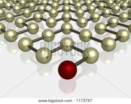 Enrejado cristalino. El marcador direccional de esferas rojas.