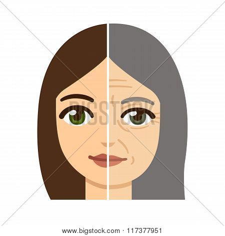 Woman Aging Illustration