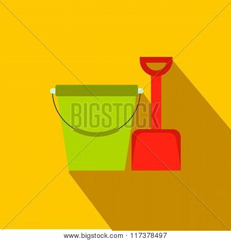 Bucket and shovel for childrens sandboxe icon