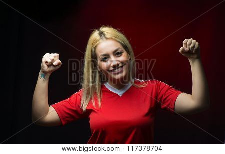 Woman Soccer Fan Happy