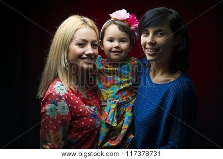Latin Mother With Daughter And Aunt