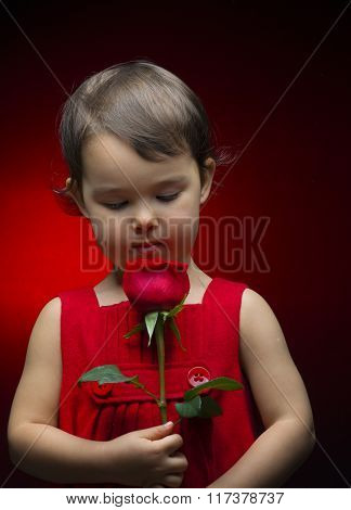 Little Girl Holding Rose Isolated On Red Background