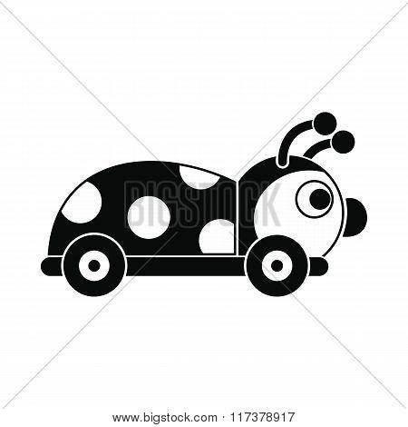 Ladybug toy on a wheels icon