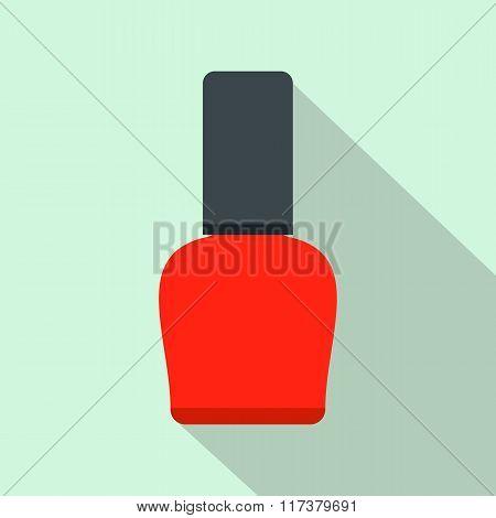 Red nail polish bottle flat icon