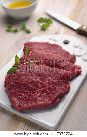 Marbled beef on a cutting board