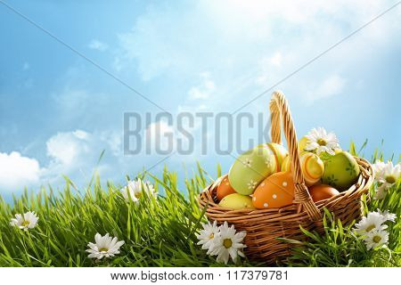 Basket of easter eggs on green grass at sunny day.