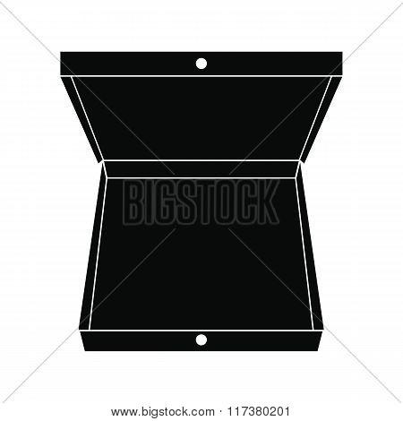 Open pizza box black simple icon