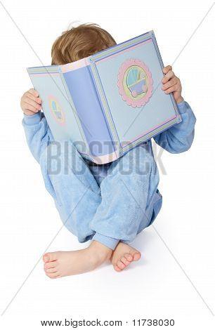 Little Child Reading Book.