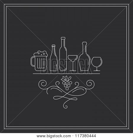 Concept of winegrowering liquor store selling alcohol. isolated. Trendy modern brand design vector illustration.