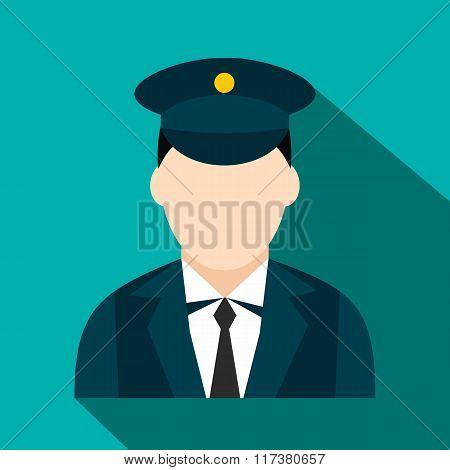 Train conductor flat icon